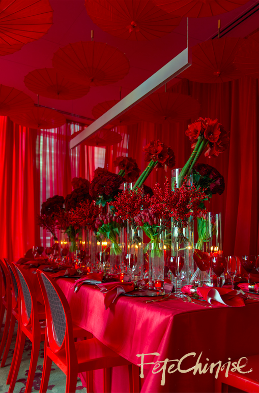 The Red Room I: Old Shanghai comes to life inside the business centre of the Shangri-La Hotel, Toronto  designed by Fabulous Occasions  and d&d Designs.  Graphics by The Ferris Wheel Press and chair back vinyl printed by Event Graffiti. Photo by Krista Fox Photography.