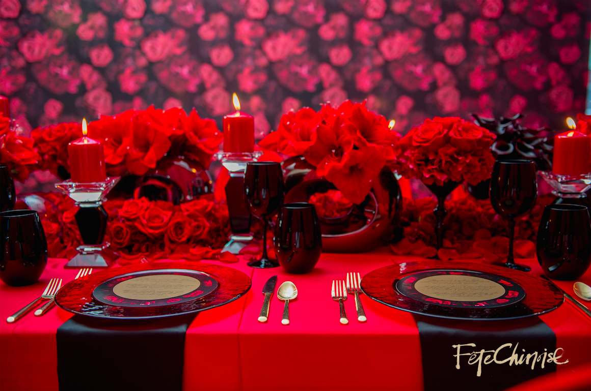 The Red Room II: Valentino-inspired design in red and black by Cynthia Martyn Events and Fuscia Designs,with stationery by Palettera Custom Correspondences and vinyl backdrop printed by Event Graffiti. Photo by Krista Fox Photography.