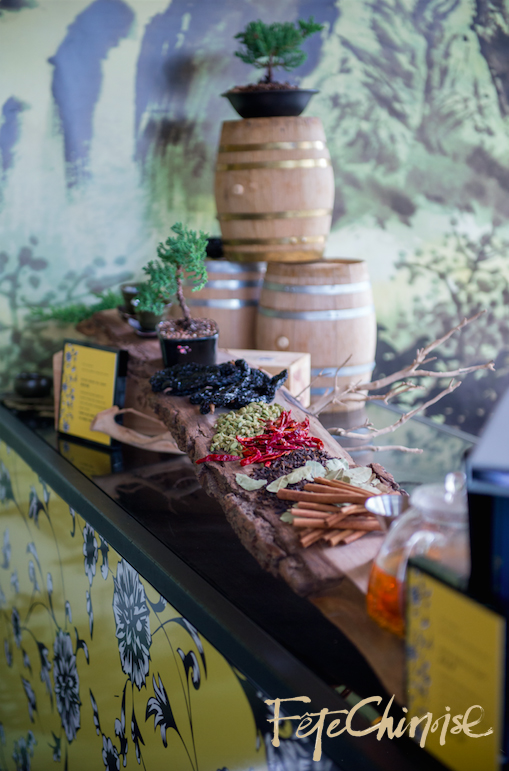 In the Penjing Porcelain Garden: a beautiful set up of the Shangri-La Hotel, Toronto   Green Tea Toddy. Space designed by Anne Anderson Events,  with graphics by Palettera Custom Correspondences and vinyl printing by Event Graffiti.  Photo by Krista Fox Photography.