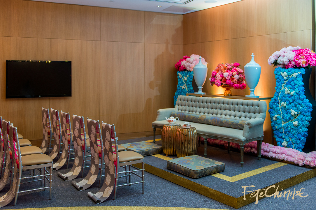 The Tea Room: beautiful room designed by Fiori Floral  and Spectacular Spetacular, featuring a custom carpet by Redneck Carpets,  special pieces from Contemporary Furniture Rentals