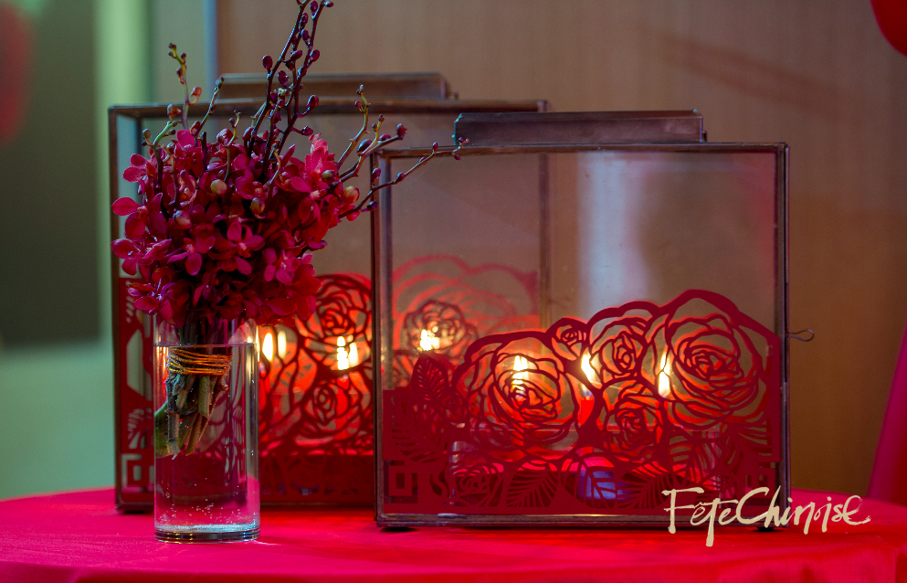 Photo by Krista Fox Photography, Decor by Fabulous Occasions and d&d Floral Designs , paper design on lanterns by The Ferris Wheel Press.