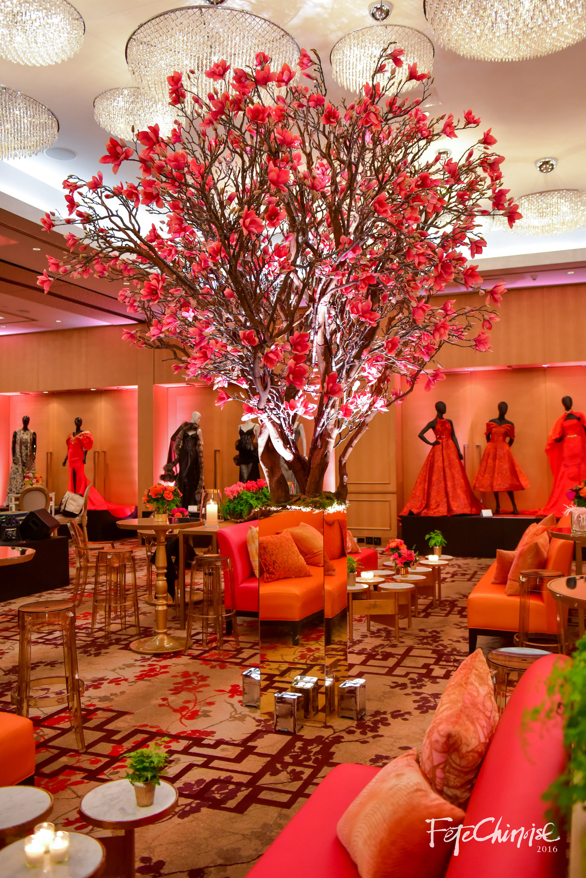 Cocktails Under the Wishing Tree were made memorable and refreshing with this room design by Stemz Event and Floral Design, featuring furniture from Contemporary Furniture Rentals.