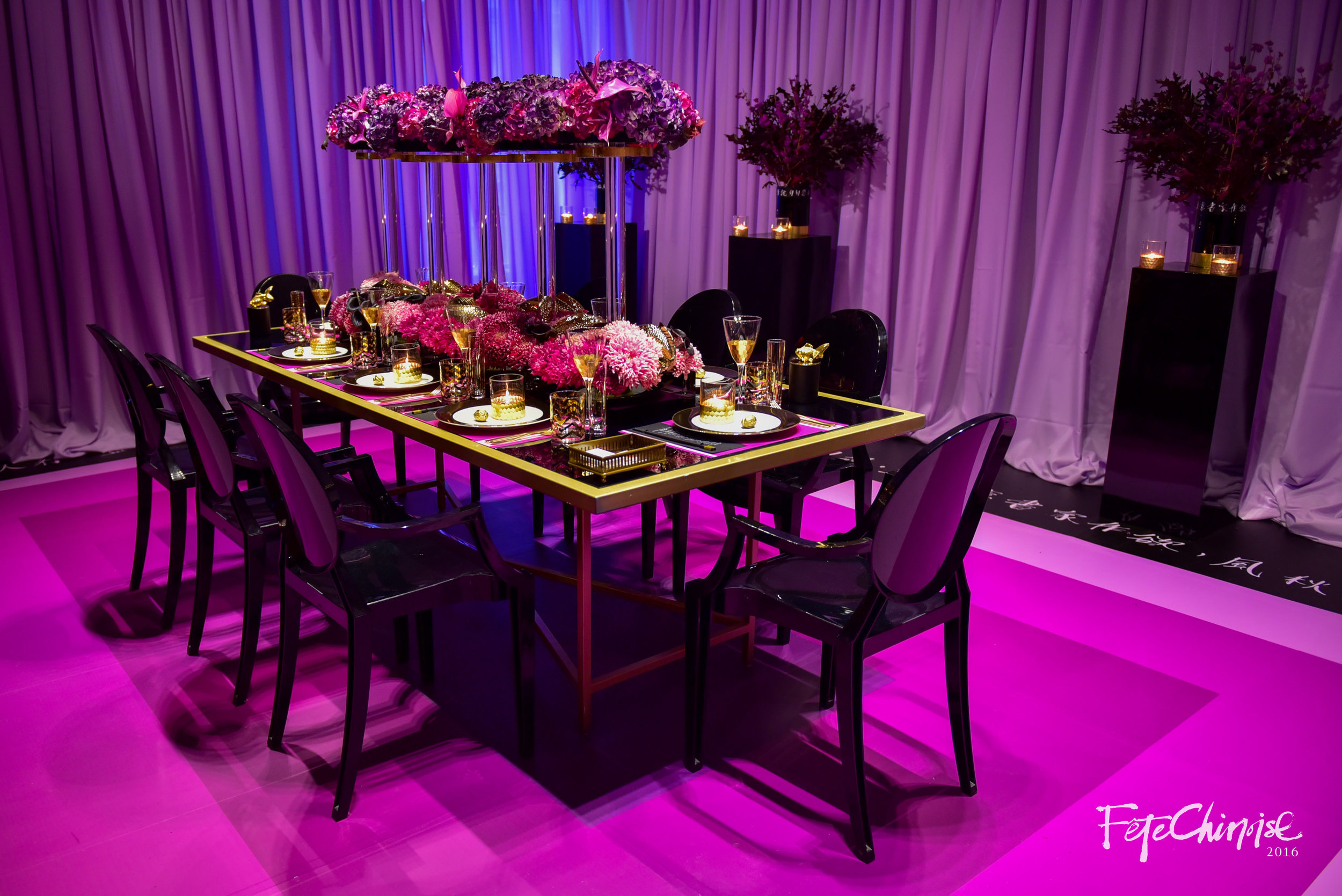 The Winter Solstice Dinner Party, designed by Fiori Floral and Spectacular Spectacular, featuring stationery and Chinese calligraphy by PALETTERA. Candles on table top with gold fish topper by Eddie Leung.