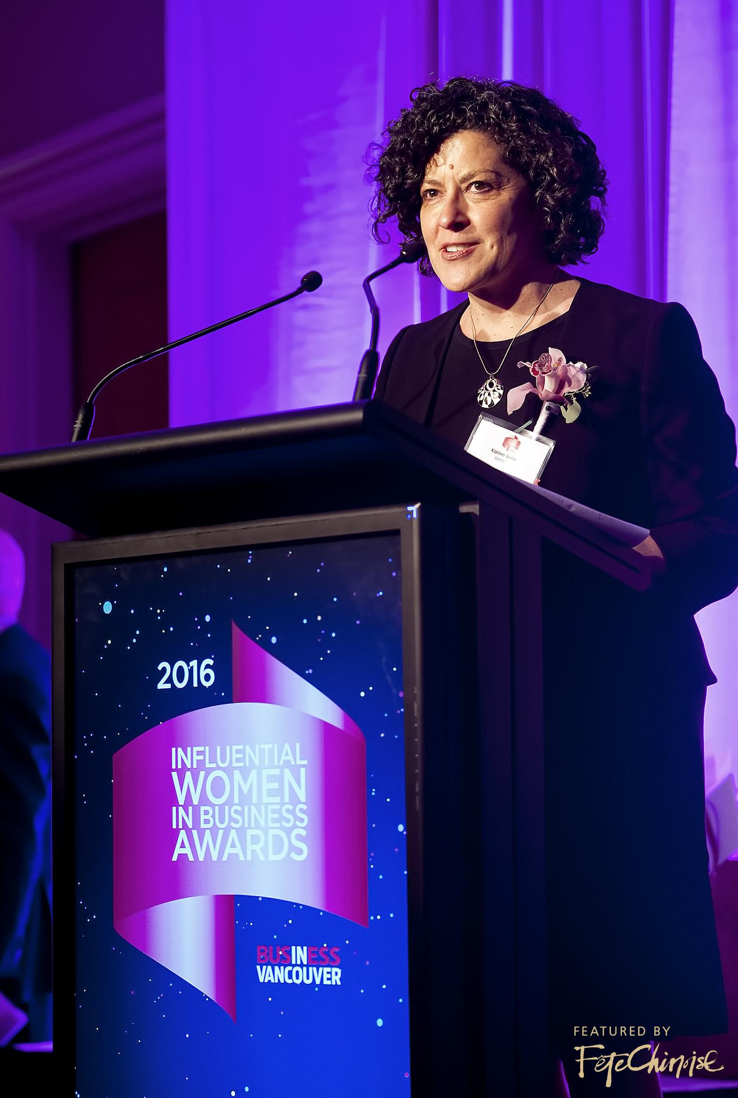 Karina Briño gives her acceptance speech