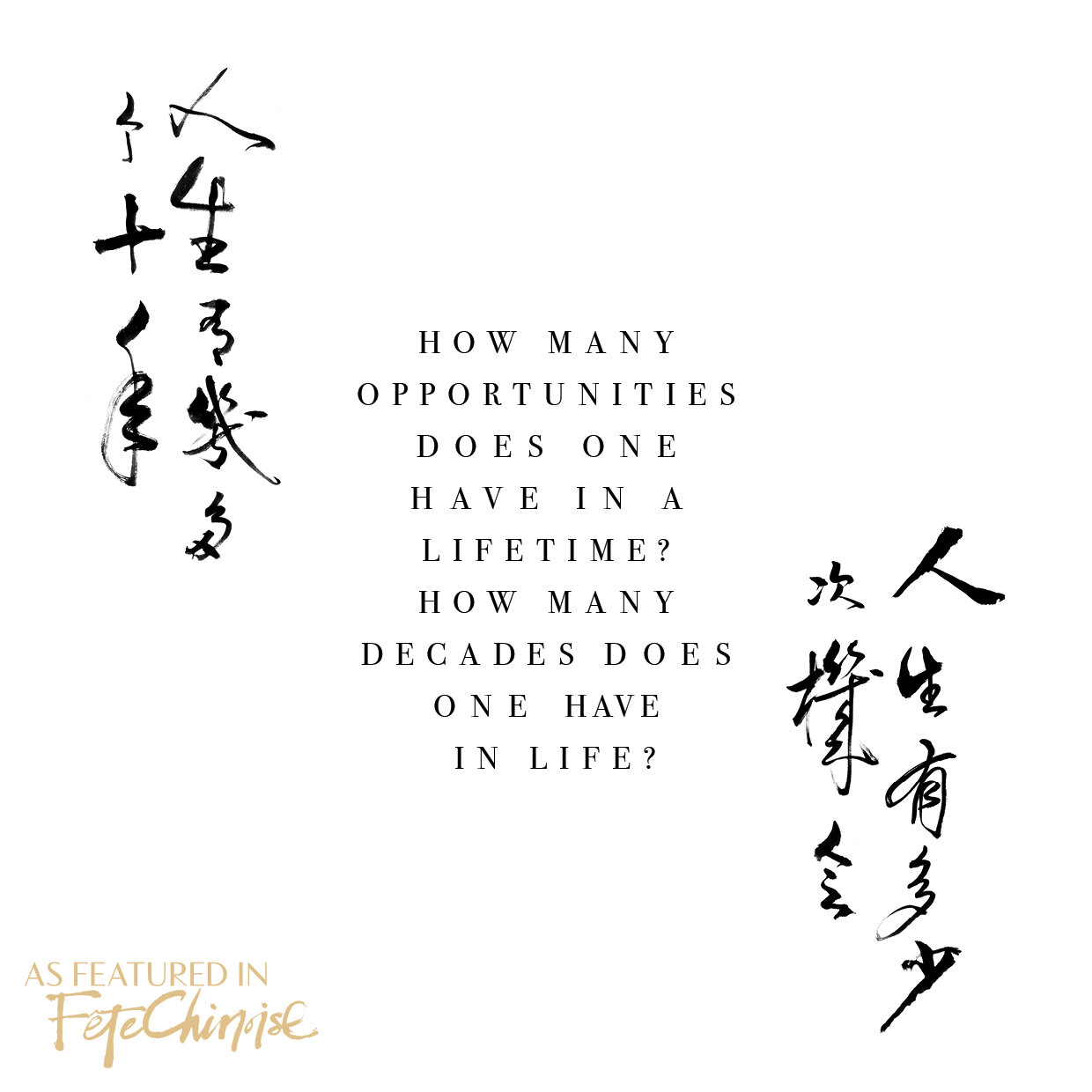 """How many opportunities does one have in a lifetime? How many decades does one have in life?"""