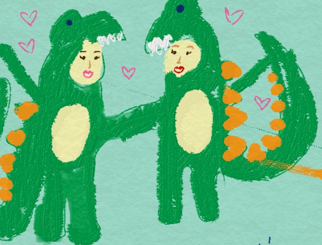 After just a few calls, here's the E-card Kelly sent me depicting us in the matching dinosaur onesies  we now both own in real life.    In her words, we're falling deep into friend love.