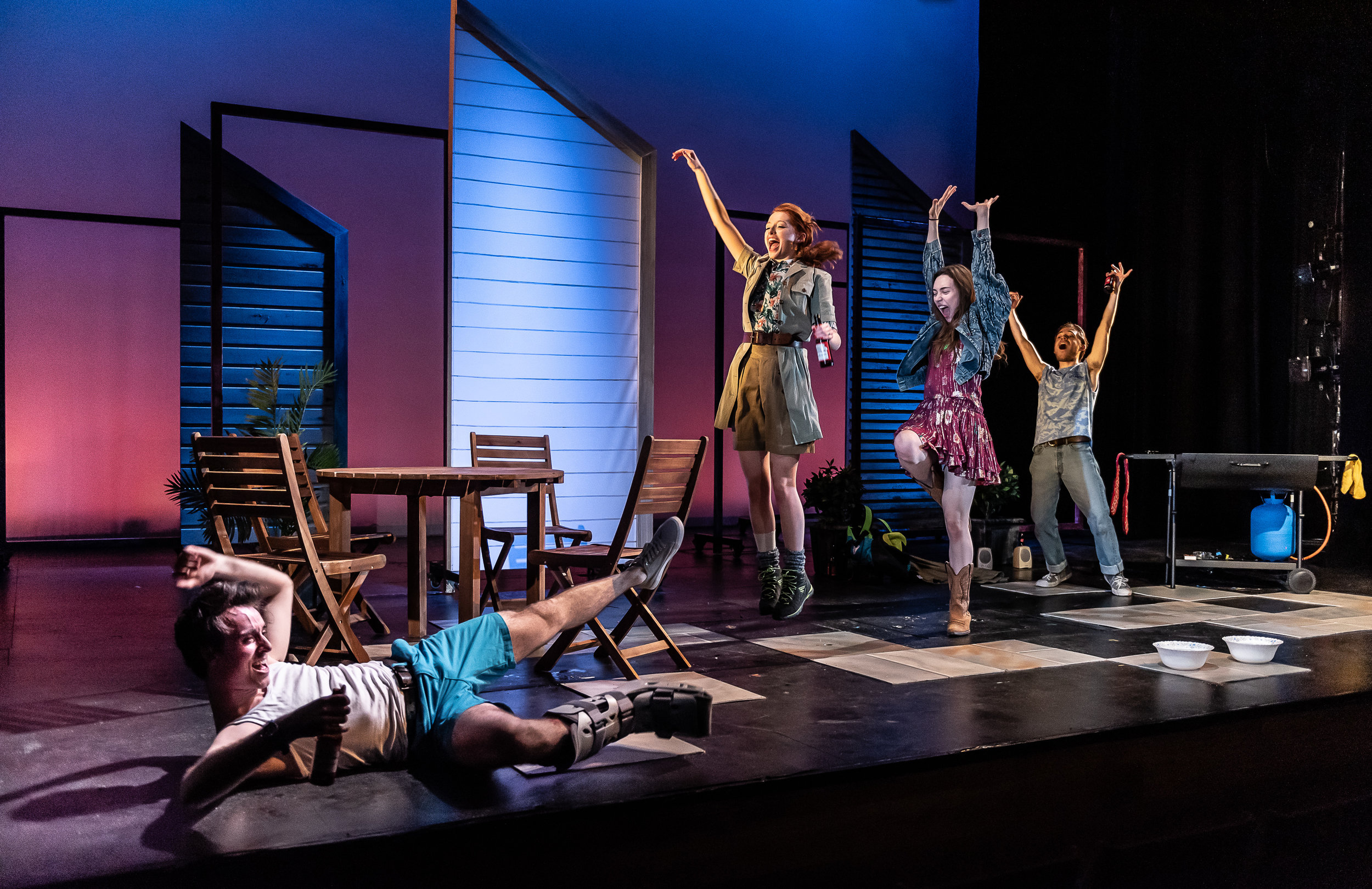 Oli Higginson as Ben, Poppy Gilbert as Mary, Laurel Waghorn as Sharon and Nick Apostolina as Kenny  © Clive Barda