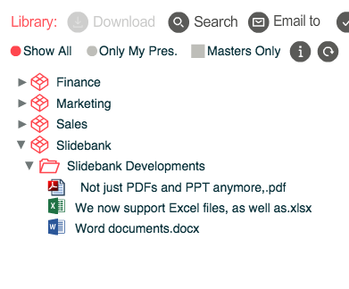 Store your Word and Excel files alongside PDF and PowerPoint collateral