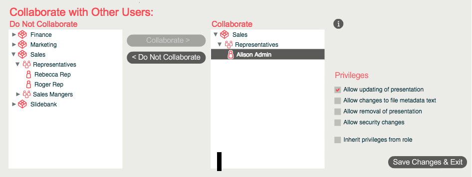 Slidebank lets you share your privileges with other users via the 'Collaborate' tool. This will let them make content updates to your master file, which will filter out to virtual presentations too.