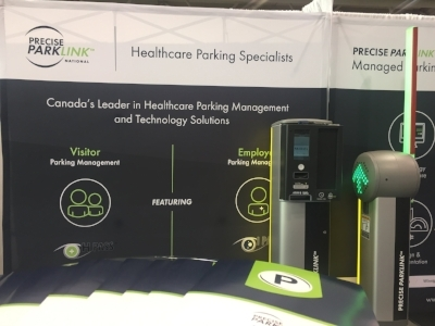 Precise ParkLink's Booth at Health Achieve, 2016, Featuring Canada's Most Advanced Pay on Foot Parking System- SkiData