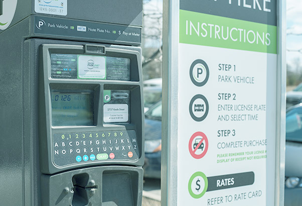 Pay-by-License Plate - Pay-by-License Plate parking meter replace the need for drivers to display a parking receipt on their dash board. They read more than just license plates including: permit numbers, student ID numbers and special codes.