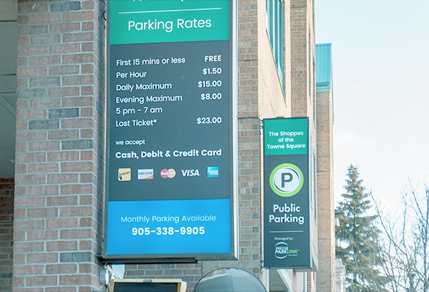 We Offer Variety - We produce the following types of parking signs not limited to the following: free-stand or wall-mounted, a-frames, side walk and lawn signs, wind signs, reader boards, banners, decals, stickers, hang tags and passes.