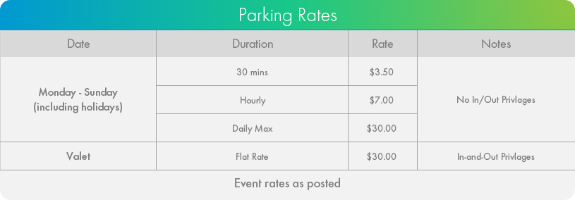 Hotel X Parking Rates