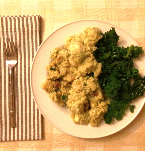 This was a super satisfying victory dinner for me! It looks like mush, but it was DELISH. Cauliflower mash with clarified butter/ghee, chicken with garlic and sautéed kale with olive oil. Now that's some fiber, eh?