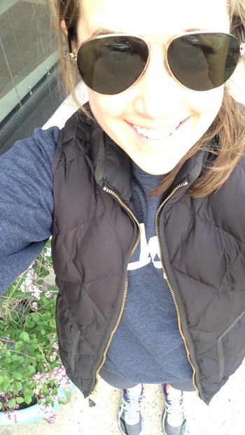 Me, happy after Monday afternoon yoga. This is pretty much my ideal outfit: spandex, running sneaks, navy blue KALE sweatshirt, J.Crew vest, aviators and ponytail.