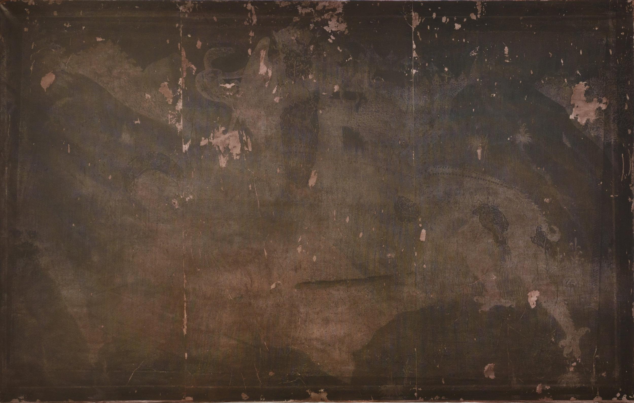 Les Forces en Présence  (2018)  Aurore Pallet  Transfert et huile sur toile, 160 x 250 cm  Courtoisie galerie Isabelle Gounod et Aurore Pallet