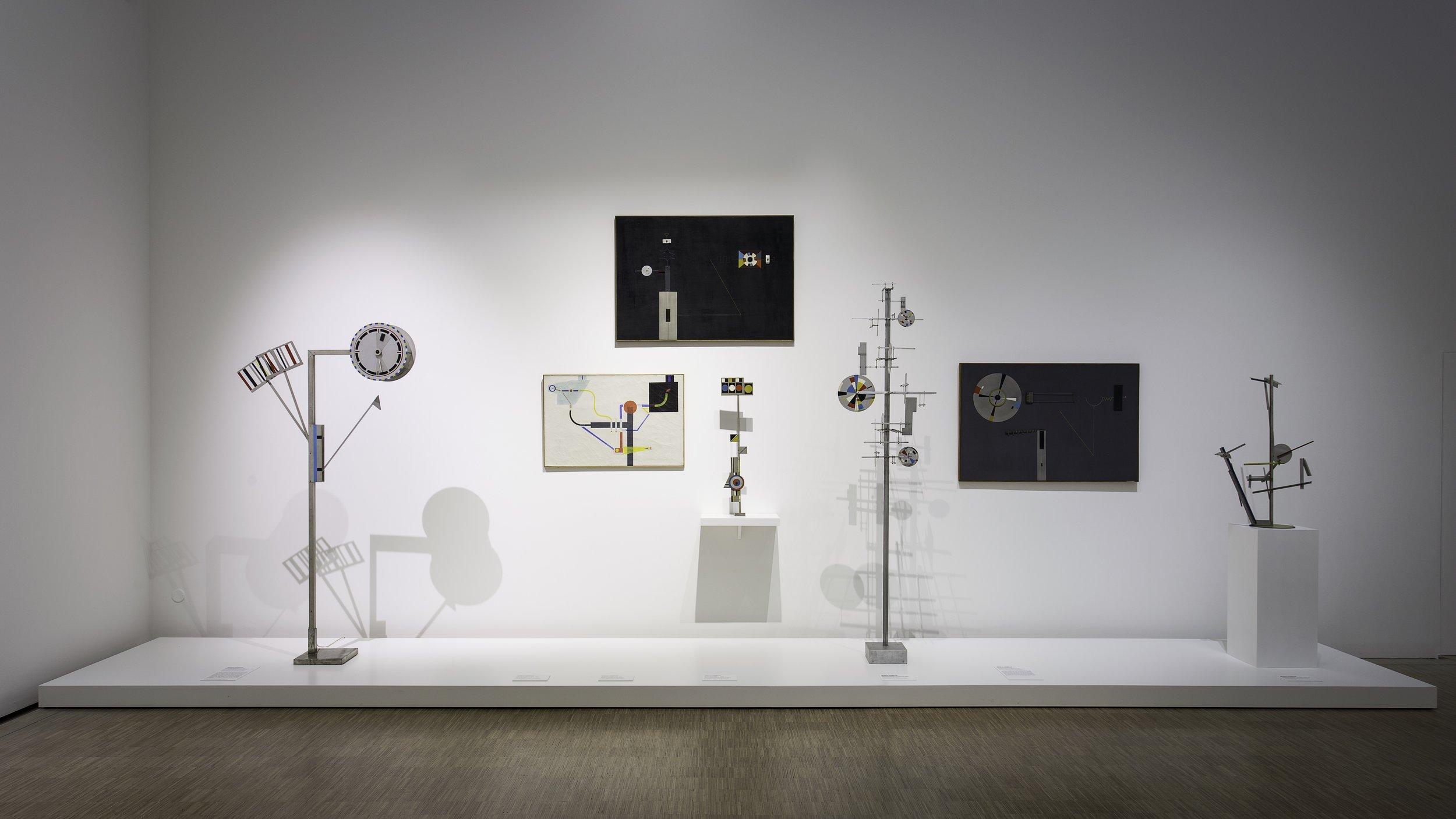 Vue de l'exposition  Nicolas Schöffer. Rétroprospective , présentée au LaM – Lille Métropole Musée d'art moderne, d'art contemporain et d'art brut (Villeneuve d'Ascq)  23 février au 20 mai 2018.  Photo : N. Dewitte / LaM.