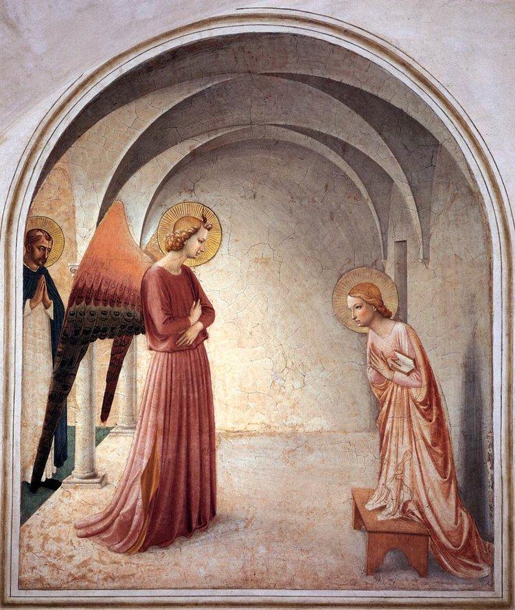 Annonciation,  1440-1441  Fra Angelico  157 x 187 cm, fresque – Florence, Couvent San Marco, 2ème étage, Cellule 3