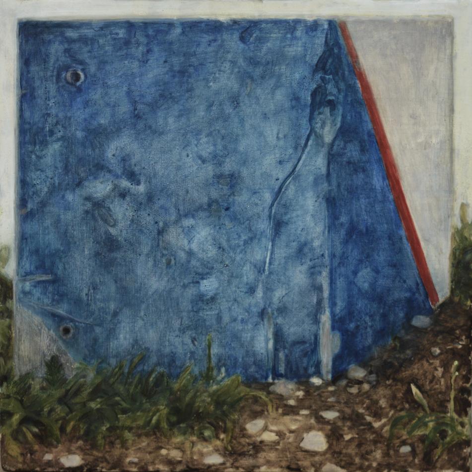 Blue checkpoin t, 2017  Nathanaëlle Herbelin  40 x 40 cm, Huile sur bois.