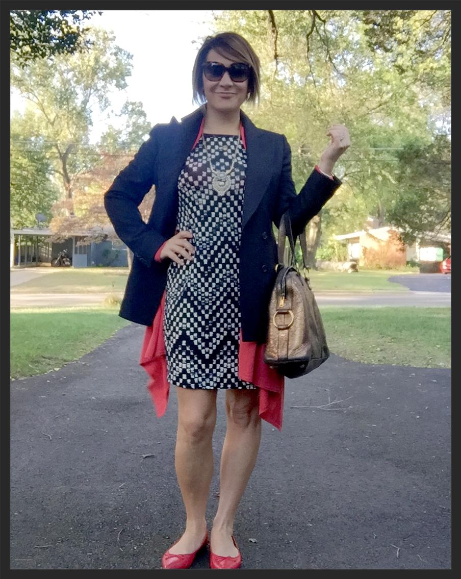 Outfit details: Chloe sunglasses (2015); Kiton blazer (2010); BCBG draped cardigan (2012); Stitch Fix dress (2015); Stella & Dot Havana necklace (2015); YSL Muse handbag (2008); J.Crew flats (2015)