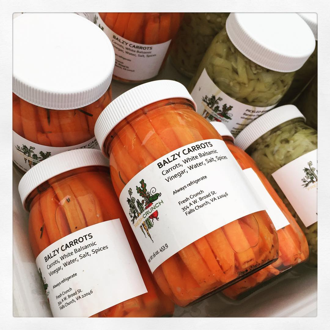 got balz? #pickles #pickled #freshcrunch #carrots @freshcrunchpickles #farmersmarket #DC #bestof #smallbatch #eatlocal #eatme #orange (at Dupont Circle Farmers Market)