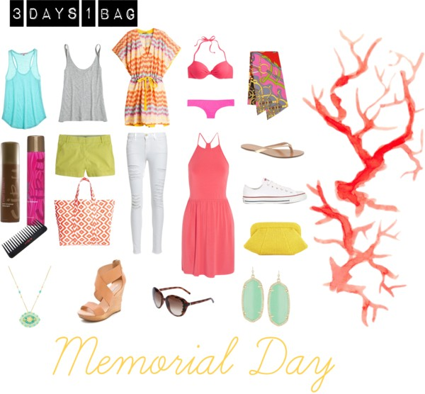 3 Days, 1 Bag: Memorial Day  by  jennmapp  featuring  Missoni         Missoni tunic  /  Calypso St Barth top  /  Calypso St Barth top  /  Frame Denim distressed jeans  /  Tart , $105 /  Tankini swimsuit top  /  J.Crew short shorts  /  J Crew bikini bottom  /  Converse sneaker , $99 /  J.Crew flat shoes  /  Lauren Merkin raffia handbag  /  Tri coastal Design beach bag  /  Kendra Scott earrings  /  Chloé cat eye sunglasses  /  Eperon d'Or Remix