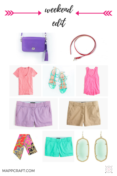 Shorts, tanks and colorful tees