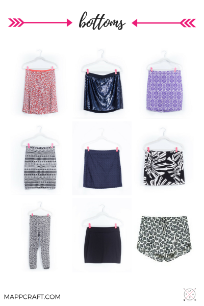 Skirts, shorts, pants, denim