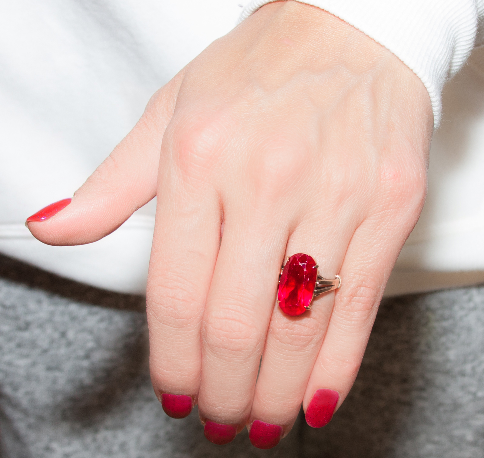 Angie Goff's most prized possession, an heirloom ruby ring passed down from her grandfather