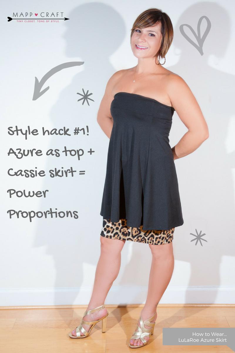 LuLaRoe Key Piece #4: Azure Skirt, Black - As a Top over Cassie Skirt