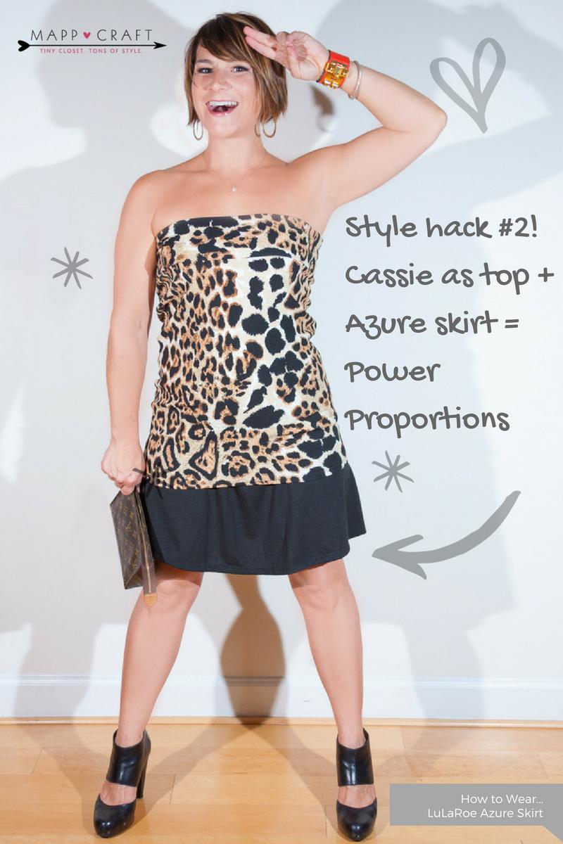 LuLaRoe Key Piece #4: Azure Skirt, Black under Cassie Skirt as a Top