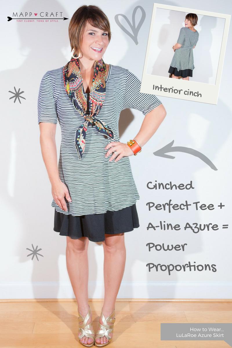LuLaRoe Key Piece #4: Azure Skirt, Black Under Cinched Perfect Tee