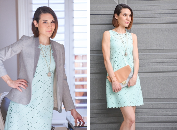 Gianelle Veis in signature mint dress, blazer and her fave Loeffler Randall clutch