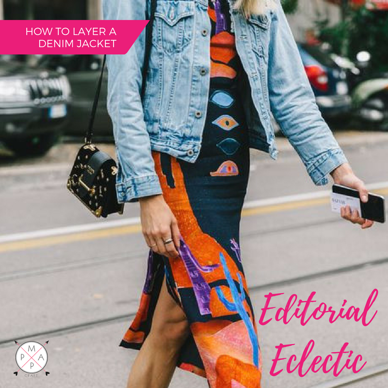 MappCraft | How to Layer a Denim Jacket for Spring: Editorial Eclectic Style, Over an Abstract Print