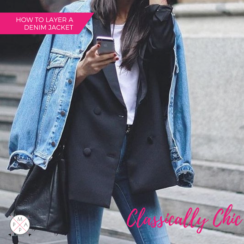 MappCraft | How to Layer a Denim Jacket for Spring: Classically Chic Style, Over all Navy Blazer