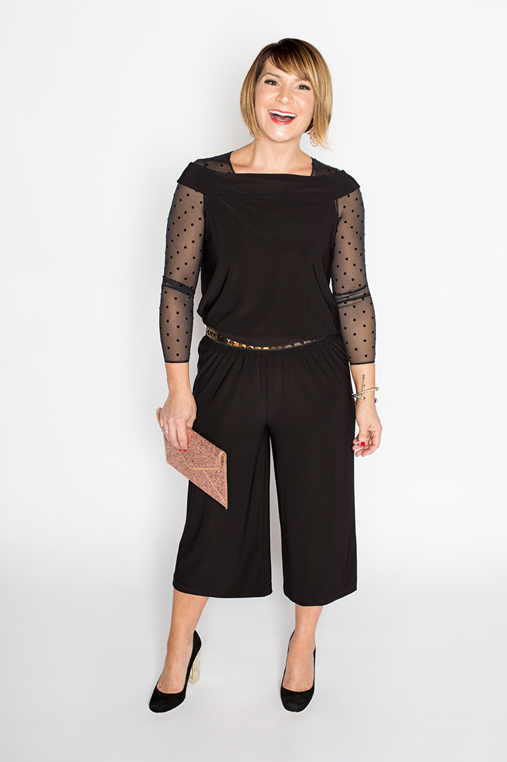 Key Holiday 2017 Layers - Short Sleeve Jumpsuit, Sheer Spanx Arm Tights