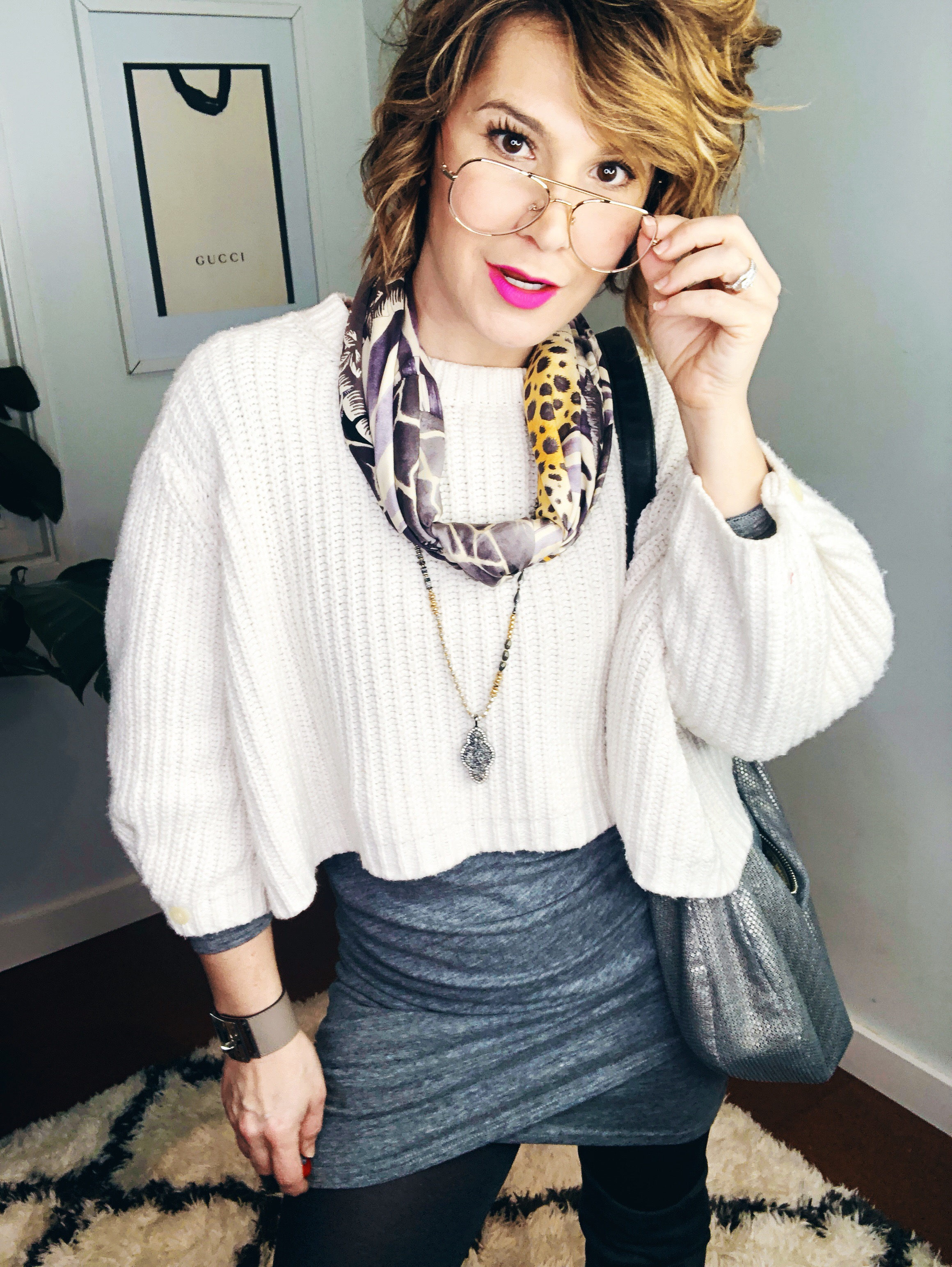 I've got a new look for 2019 | MappCraft.com  Outfit Credits: Dress, Leith (2018); Sweater, Anthropologie (2017); Scarf, Ferragamo (2010); Necklace, Stella & Dot (2015); Cuff, Hermes (2018); Glasses, Warby Parker (2018)