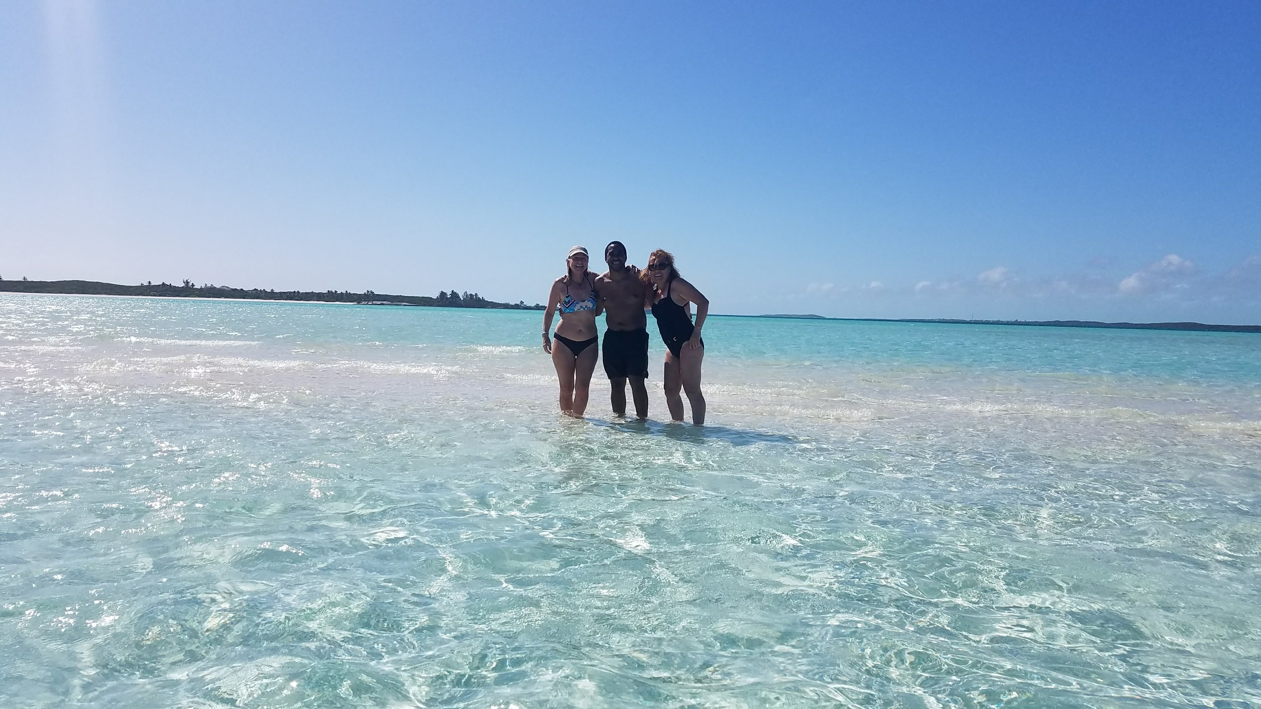 Standing on a Sand Bar in the middle of the Caribbean in the Exuma Keys