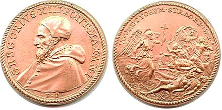 The medal that Pope Gregory the XIII had made to commemorate the massacre