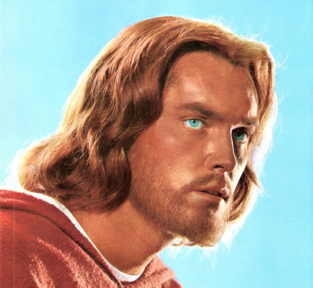 """Actor Jeffrey Hunter as blue-eyed, red-headed Jesus in """"King of Kings"""" (1961)"""