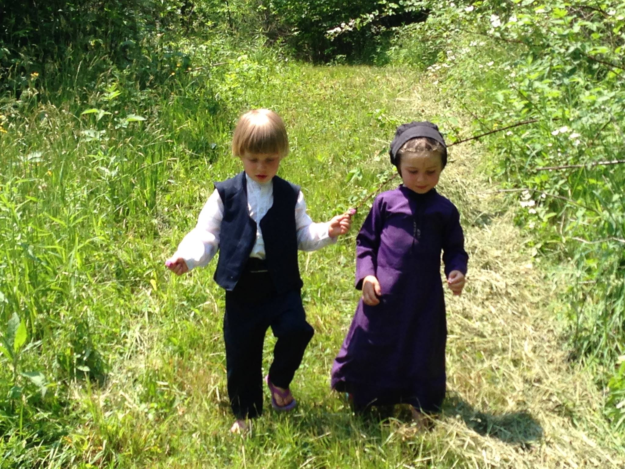 Walking through the woods at West Salem Amish Mission