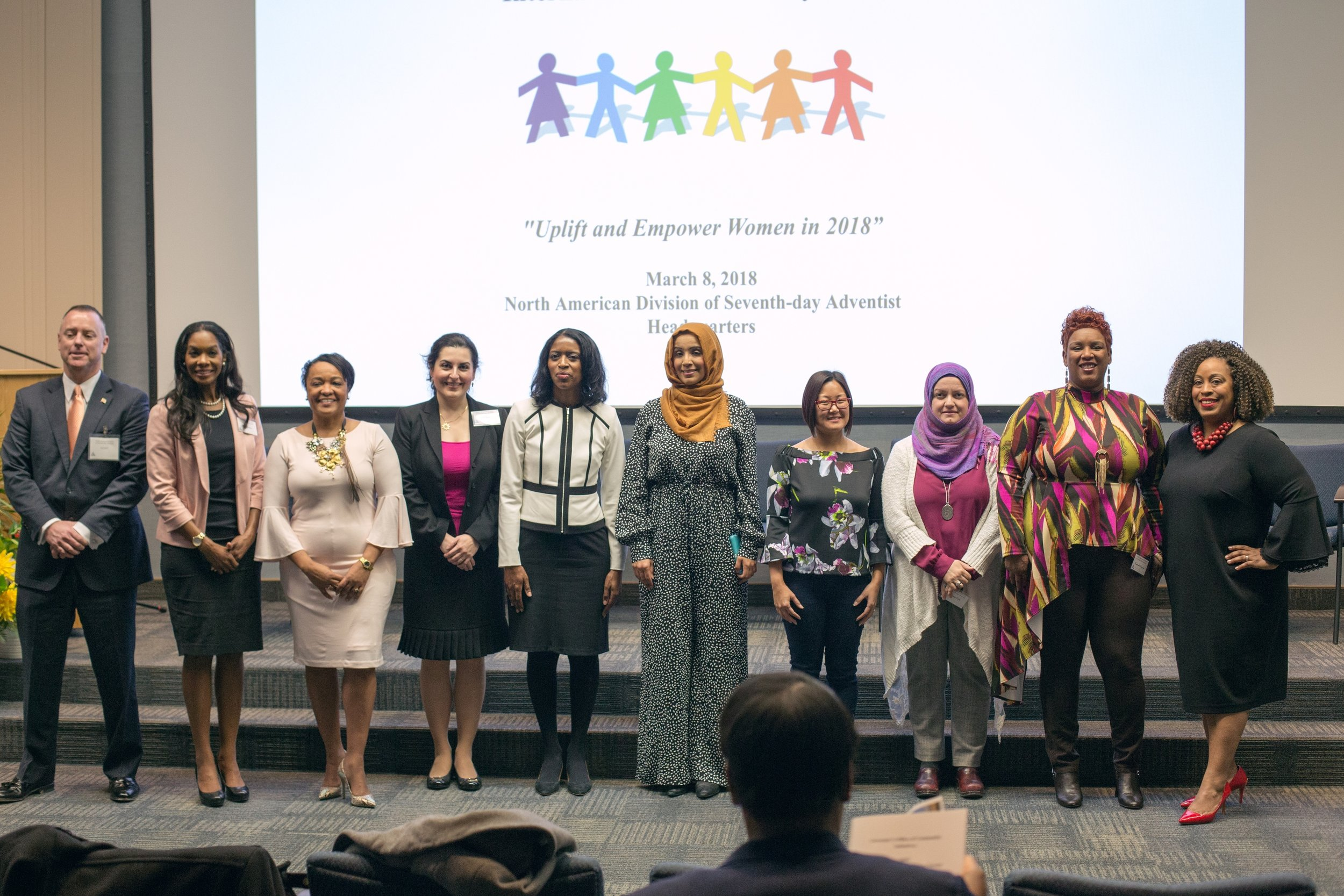 Female presenters and participants of the International Women's Day Forum. Photo by Pieter Damsteegt