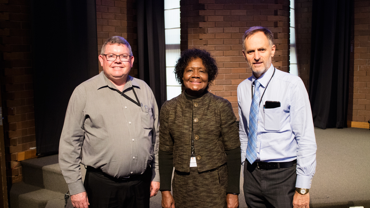 L-R: SPD secretary Lionel Smith, General Conference vice-president Dr Ella Simmons and SPD president Glenn Townend.