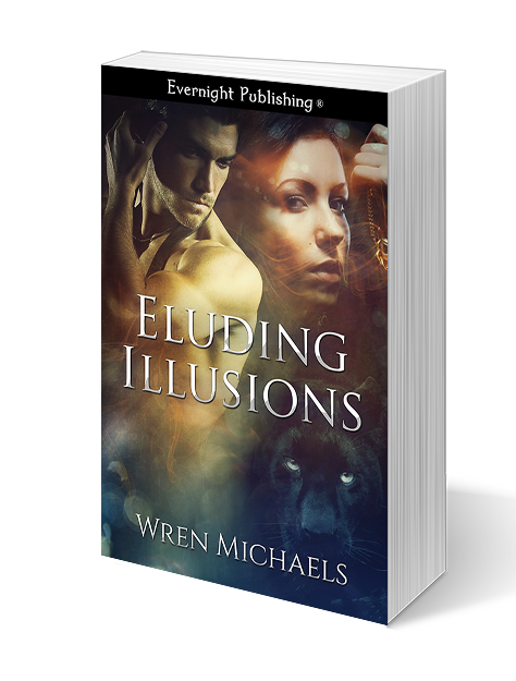 ELUDING ILLUSIONS - Emma Banciu dreams about her novels taking on a life of their own. Thanks to a centuries old Gypsy curse, they tend to do just that. Writing with pen and paper she brings things to life, and hell hath no fury like an antagonist scorned. Now she's on the run from Kyrin, an evil demon warlord who surfaced from one of her first manuscripts. And the only way to get rid of him is to destroy the manuscript.Enter JG1988, her long-time online friend. He knows nothing of the curse nor the magick Emma possesses. His only wish is to finally meet her in person and take their relationship to the next level. He reveals a surprise of his own when he shows up at Emma's door as international recording artist Jake Griffin.After their first date is interrupted by Kyrin, Emma resorts to magick to save their lives. Destroying the manuscript will not only get rid of Kyrin, but also end her relationship with Jake. But keeping secrets from him may end up doing just that. In order to survive they'll resort to love, lies, and a little Gypsy magick.