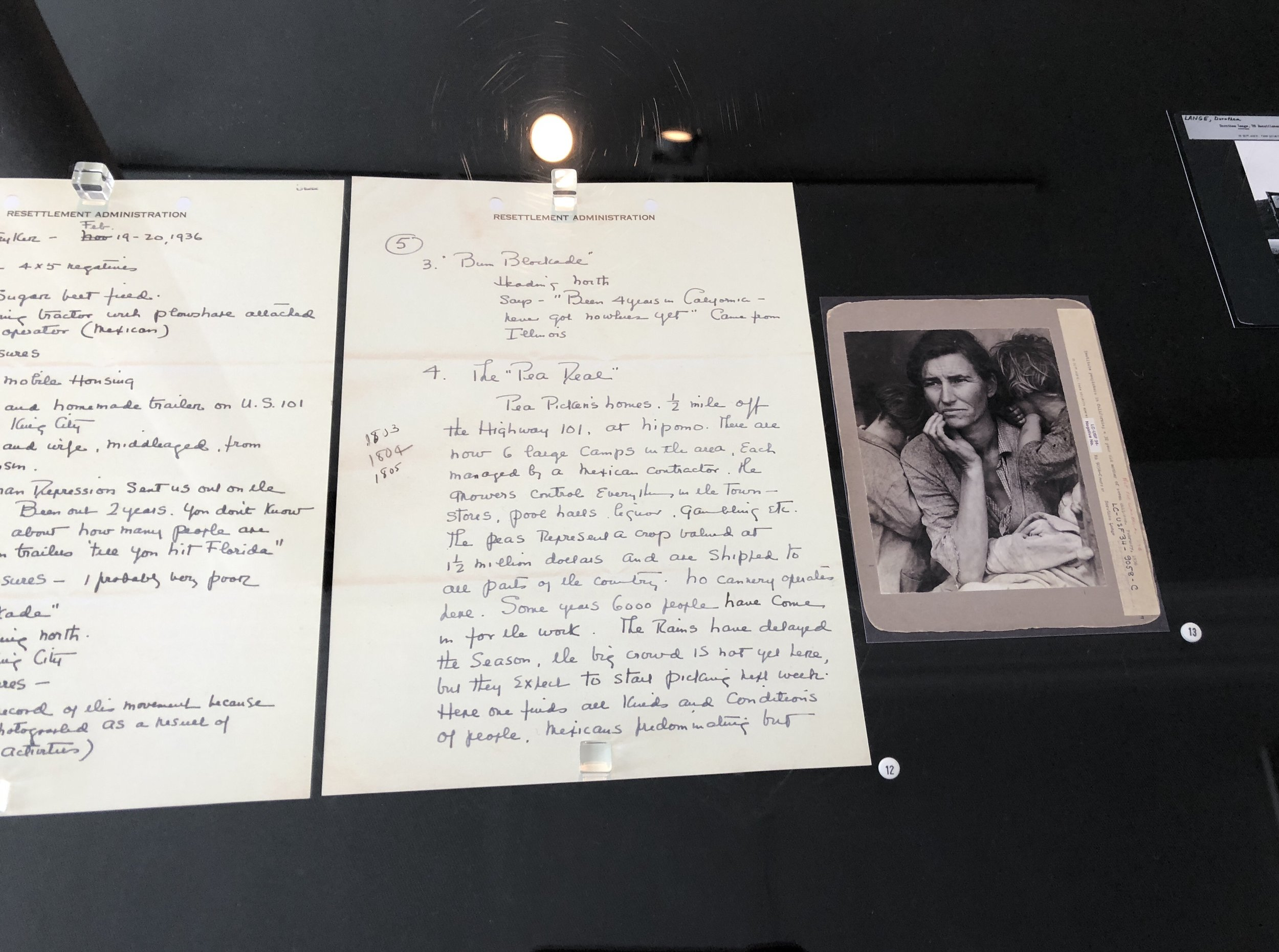 Dorothea Lange's field notes for Roy Stryker