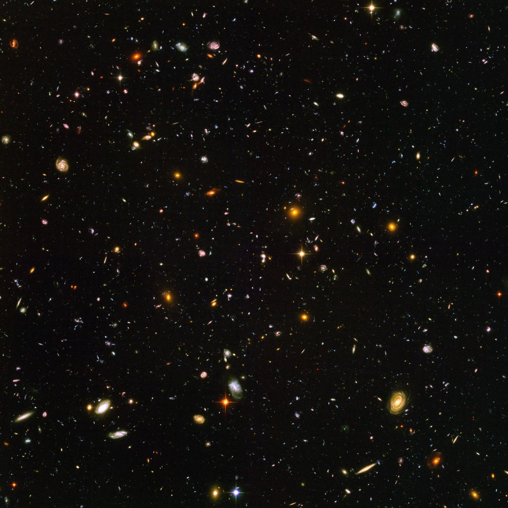 Hubble Ultra Deep Field photograph assembled from 800 exposures taken from 400 orbits around the earth over a period of 11 days in 2003. (NASA, ESA, S. Beckwith (STScI) and the HUDF Team)