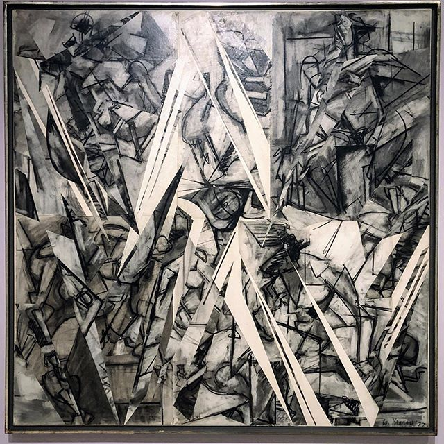 There's a painting hanging in a room of mid 20th century work at the Tate Modern that continually grabs my attention, 'Gothic Landscape' by Lee Krasner. It's one of those canvas' I can look at again and again and not tire of. Considering the power of this piece, it's odd that I knew so little about Krasner's work other than a few thumbnails I have stumbled upon in publications largely about her husband, Jackson Pollock. I'm not sure if I've actually seen Krasner's work elsewhere. I suspect Krasner was another female artist who's work was subjected to the shadow of their husband. Kay Sage, wife of Yves Tanguy, is another that comes to mind. (Check out 'In the Third Sleep', 1944, (at the Art Institute of Chicago) a painting that regularly surfaces in my mind despite seeing it years ago.) . I was quite excited to see a retrospective of Krasner's work in London this summer. This is the first exhibition dedicated to her work in Europe since the 1960s. It is a rarity. . The work pictured, 'Future Indicative', 1977 is one of the last works in the show, and one of my favourites. This is from a cycle of collage work made in her late 60s. The majority of the exhibition spanning her career consists of large gestural abstract expressionist painting, (much of it feeling to me like something she needed to get out of her system). Yet, her entry into the gestural abstract world stemmed from a collage composed of drawing fragments salvaged from her studio floor that were torn up in frustration. Decades later, 'Future Indicative', a collage of cut up life drawings brings the work full circle. . Interestingly, Krasner acknowledged the lack of critical attention given to her work and thought it a blessing that provided her with the freedom to take the work in new directions, and not be forced to repeat herself. . Lee Krasner, Living Colour, runs until September 1 at the Barbican. ... .. . #londonexhibition @barbicancentre #leekrasner