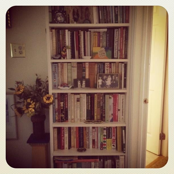 Built-in bookshelf filled with cookbooks.