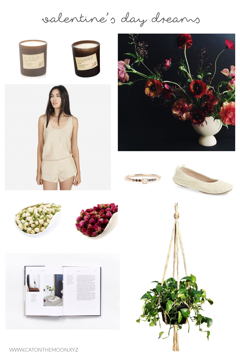 Just dreaming of beautiful things for Valentine's Day... at Cat On The Moon | catonthemoon.xyz A thoughtful style blog for a simple life. Minimalist does not have to mean boring. Neither does simplicity. Come check out what gifts I'm dreaming of for V-Day.