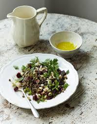 Amelia Freer's Lentil, Beetroot & Hazelnut Salad with Ginger Dressing .